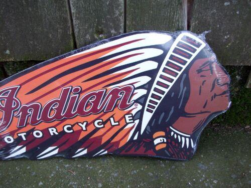 Indian Motorcycle Bike Biker Chief Head Embossed Tin Metal Wall Sign Emblem Logo