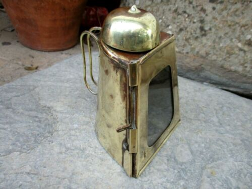 Vintage in Brass Handmade Lamp Lantern With Handle Candle Flame Night Light