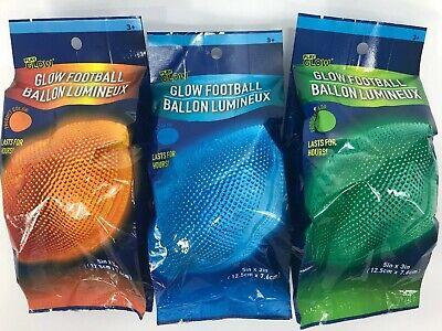 "Glow Football (Play Glow Football Orange Green Blue 5"" x 3"" Lasts For Hours New Lof of)"