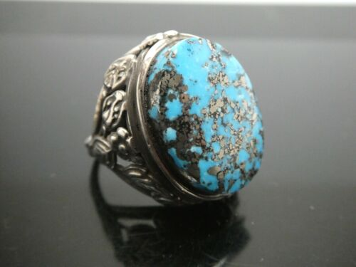 Art Nouveau Natural Persian Oval Blue Turquoise Sterling Silver Ring Size 6.5