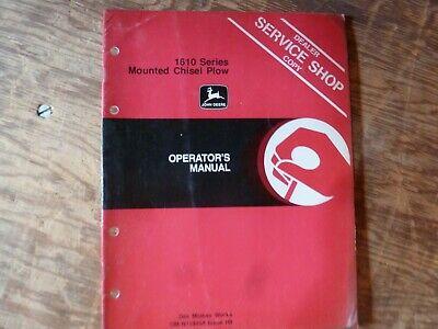 John Deere 1610 Series Mounted Chisel Plow Owner Operator Manual Omn159458