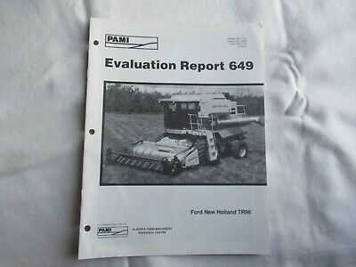 New Holland Tr96 Combine Independent Evaluation Data Report Brochure