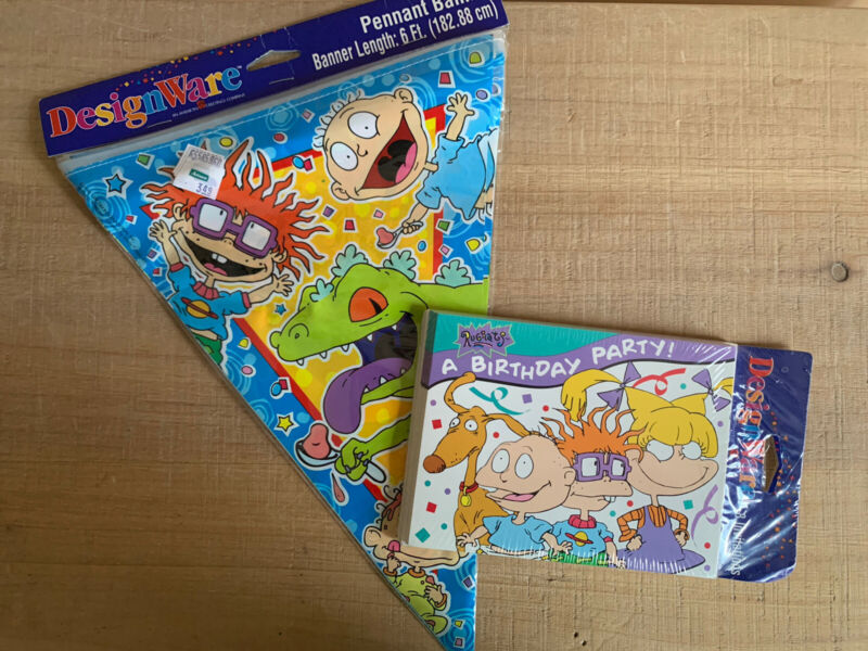 Vintage Nickelodeon Rugrats Birthday Party Supplies Lot, Invitations & Banner