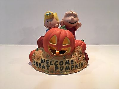 Hallmark 2000 Lighted Sally / Linus Welcome Great Pumpkin Figurine - Without Box