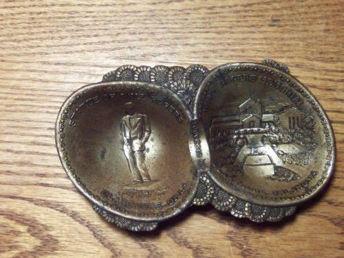 """Vintage Will Rogers Memorial Souvenir Tray Claremore Oklahoma  3"""" X 5"""" metal"""