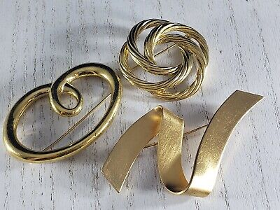 Vintage Brooch Pin Designer Signed MONET Gold Tone Lot STATEMENT Abstract