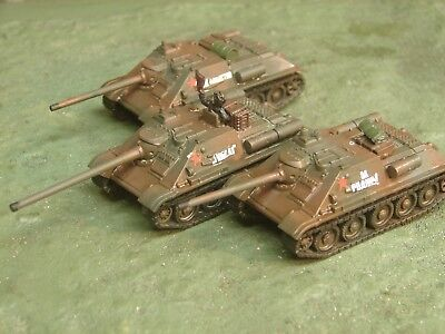 Painted Flames of War Soviet SU 85 Platoon with Commander(3 Tank Destroyers)
