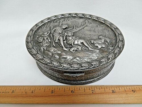 JB Spelter Victorian Metal Footed Oval Jewelry / Trinket Box