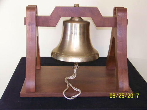 """Vintage Brass Nautical Ships/Harbor """"Large"""" Bell w/Custom Made Wood Stand"""
