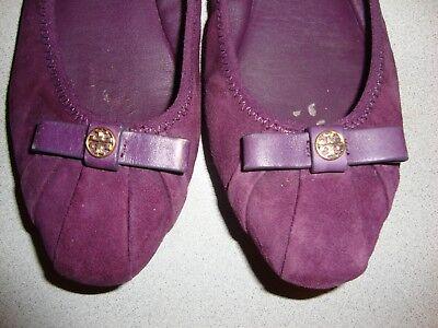 Tory-Burch Women's Purple Suede Leather Bow Ballet-Flats Shoes-7.5 M Pleated  - Bow Pleated Ballet Flat Shoe