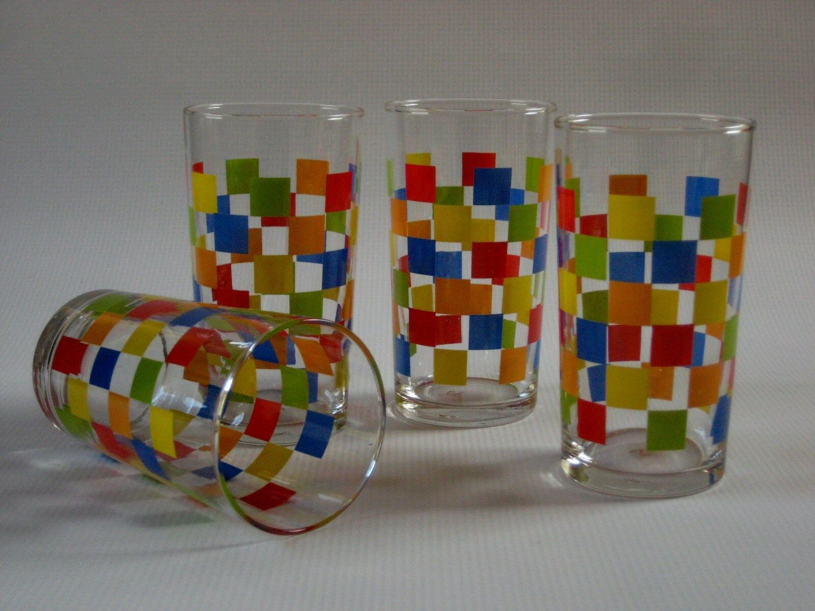 Vintage Libbey Colorful Squares JUICE DECANTER CARAFE FOUR MATCHING GLASSES - $29.95