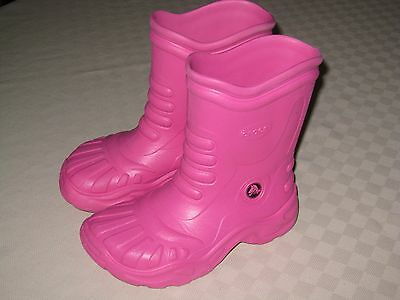 cb96092a4e87 CROCS GEORGIE YOUTH GIRLS PINK WATERPROOF RAIN BOOTS SIZE 3 M 5 W EUC for  sale