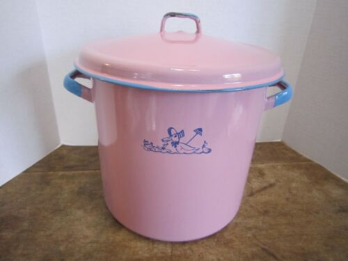Vintage Pink Enamel Baby Bottle Sterilizer Stock Pot