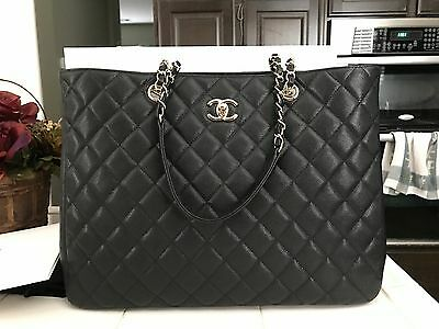 100% AUTH BNIB CHANEL TIMELESS GST QUILTED TOTE CAVIAR BLACK LIGHT GOLD HW