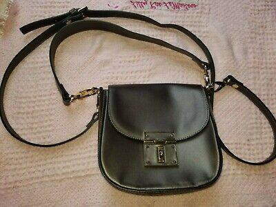 A Bellucci Genuine black leather crossbody hand bag made in Italy