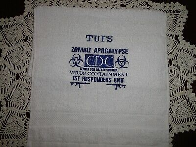 ZOMBIE APOCALYPSE Center Disease Control CDC PERSONALIZED Hand Towel Get Laughs  - Zombie Towel