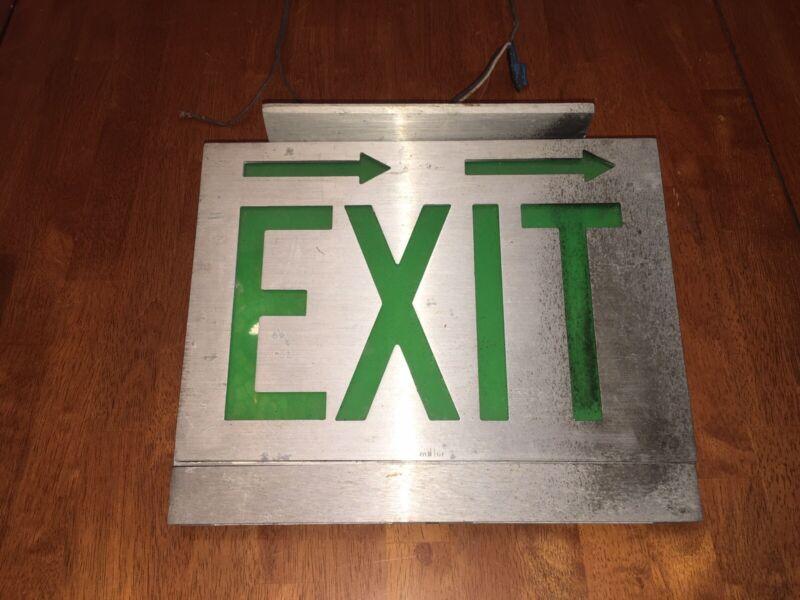 Vintage Lighted Metal Green EXIT Sign Arrows Aluminium Man Cave