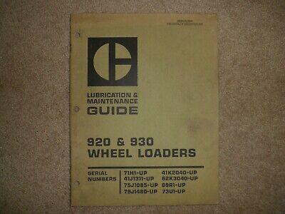 Caterpillar 920 930 Wheel Loaders Lubrication Maintenance Guide Cat Sebu5394
