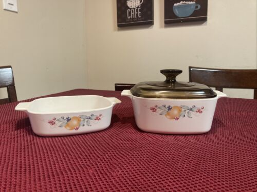 Vintage CorningWare Abundance Fruit Design Casserole Dish 1 Qt 1.5 Qt With Lid - $39.98