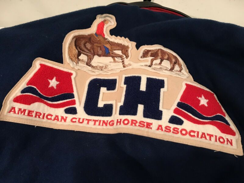 Vintage Mens Large American Cutting Horse Association ACHA Jacket Leather Trim