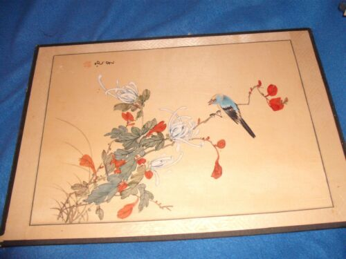 Antique Japanese scroll painting on cloth  bird in blossom tree signed sealed
