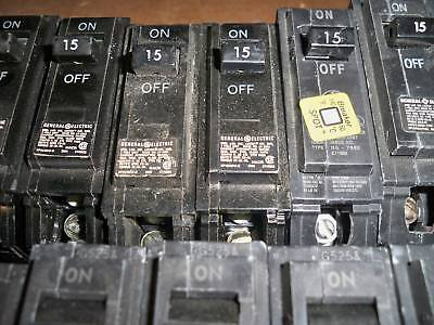 Ge Thqb1115 15a 1p 120v Bolt-on Circuit Breaker Lot Of 5 Used