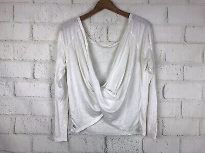 Fabletics Xs Workout Top White Drape Twist Front Long Sleeve Oversized Pullover