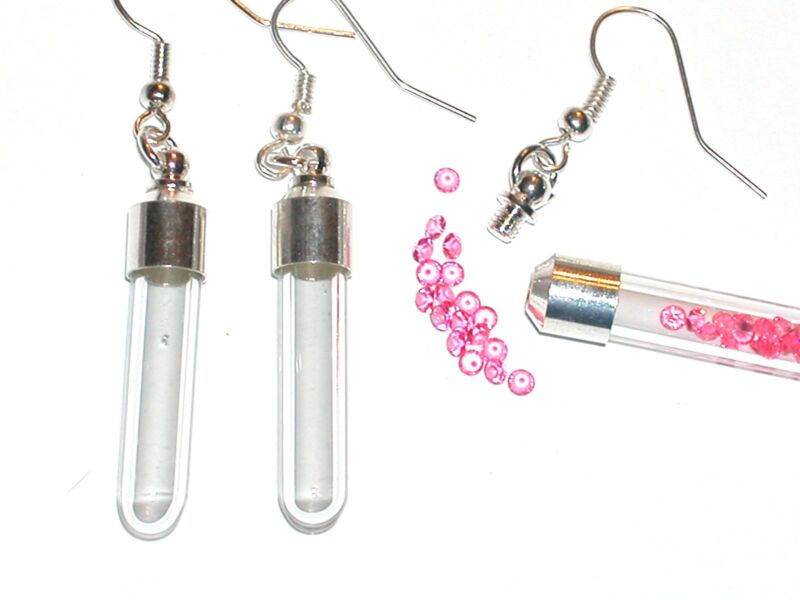1 Set Pair Fill your own Screw top Tube Pendant rice Vial Bottle locket earrings