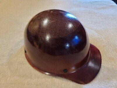 Vintage Msa Skullgard Hard Hat Suspension Light Fiberglass Tan Brim