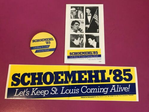 St. Louis Missouri Governor Vince Schoemehl Campaign Pin Brochure & Sticker 1985
