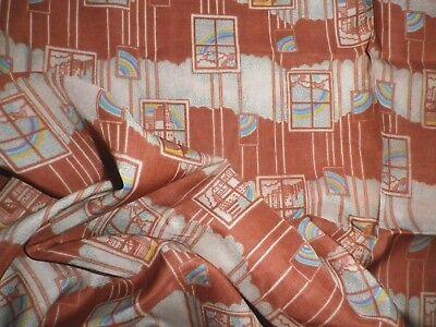 Vintage Rayon Dress Making Fabric Geometric Rainbow Art Deco Design 50