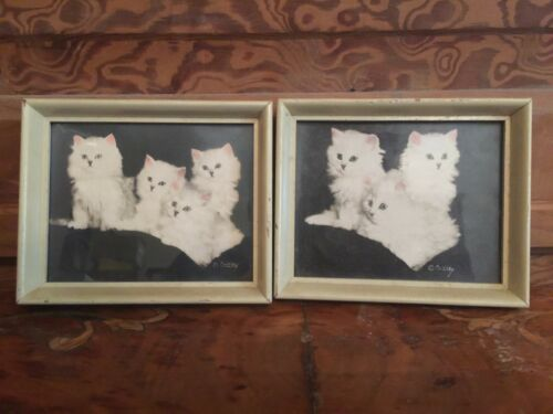Vintage Mid Century Pair of Kitten Cat Framed Print Signed Currly