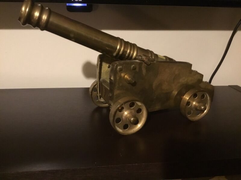 "Antique Huge 9 "" Unsigned  Solid Brass Cannon Complete Purchased 1970S"
