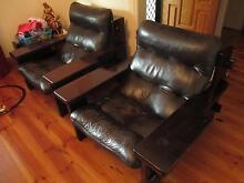Large Quality Leather 3Pcs Lounge Set Armchairs 3 Seater Timber Alberton Port Adelaide Area Preview