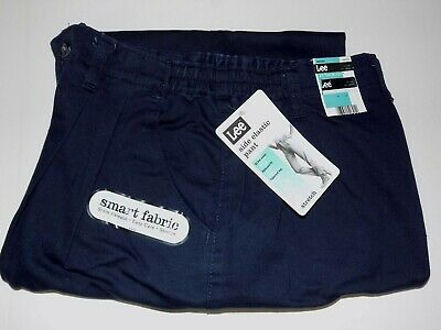 Misses Pleated Front Pants - LEE PLEATED FRONT SIDE ELASTIC EASY CARE PANTS MISSES SZ 16 SHORT - NAVY- NWT