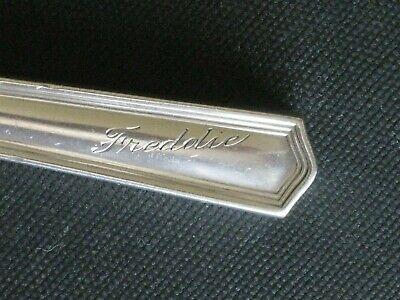 Vintage International Sterling Child's Place Knife Engrave FREDDIE Feb 7, 1931 Sterling Place Knife