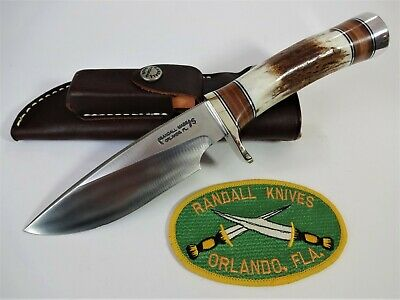 """RANDALL KNIFE Model 25-5"""" SS """"TRAPPER"""" STAG & LEATHER Handle NS Hilt w/Sheath"""