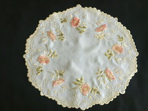 Antique Society Silk Thread Hand Embroidered Doily -  Pink & Peachy Flowers