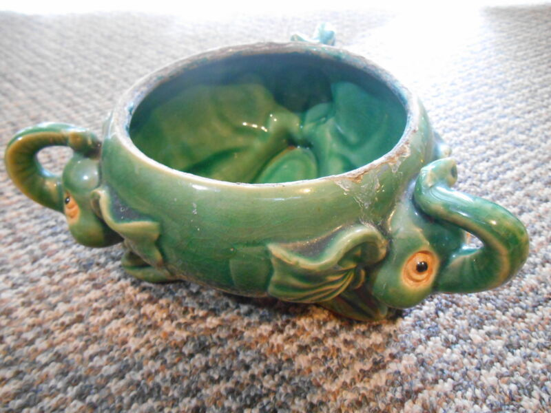 Old Vintage or Antique Pottery Planter Elephants Animal Motif maybe rare unique