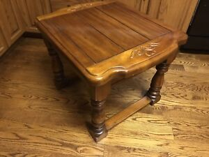 "Heavy wood side coffee table 25"" T x 30"" L x 24"" D"
