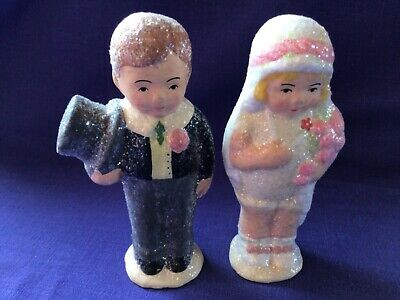 """Sparkly Bride and Groom 5"""" Cake Topper by Teena Flanner Bethany Lowe Vintage"""