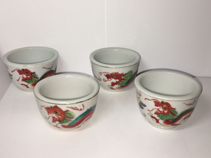 Vintage Red Dragon Chinese Restaurant Ware Tea Cups. Set Of 4 Cups.