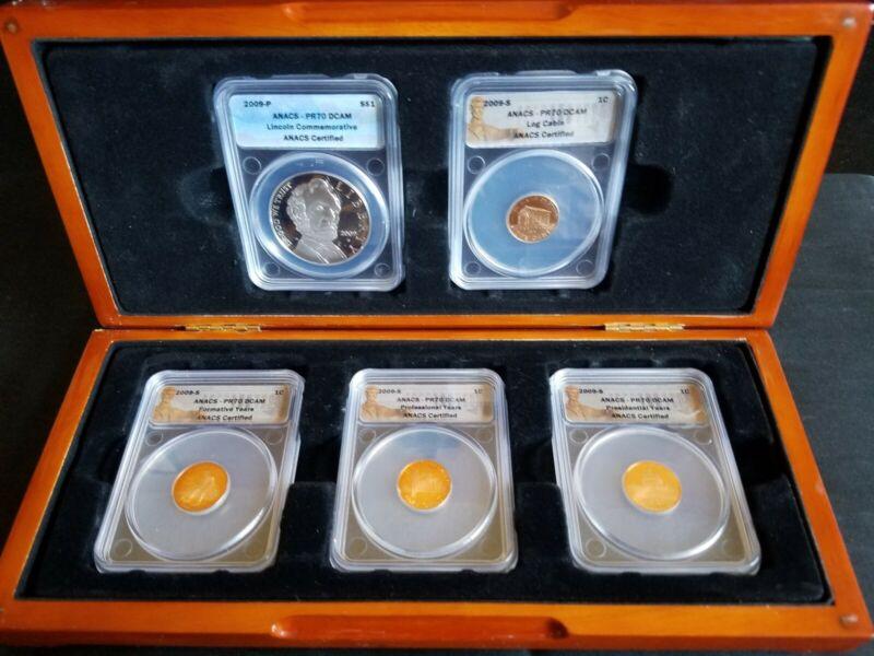 2009 Lincoln Bicentennial 5-Coin Set ANACS PF70 DCAM w/ Display Case