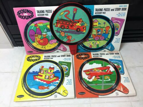 Vintage 1968 WHITMAN Toys Sound-A-Round Talking Puzzle Accessory Sets LOT