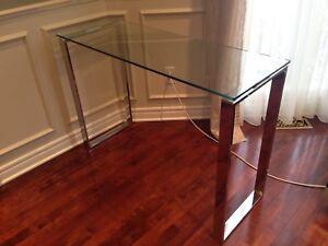 Console en verre et metal