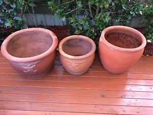 Three Large Terracotta Pots Cooks Hill Newcastle Area Preview
