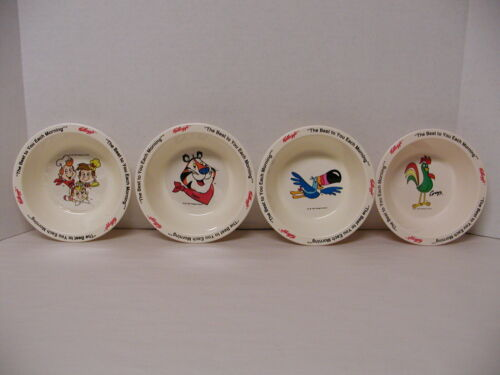 SET OF 4 VINTAGE 1995 KELLOGGS PLASTIC CEREAL BOWLS