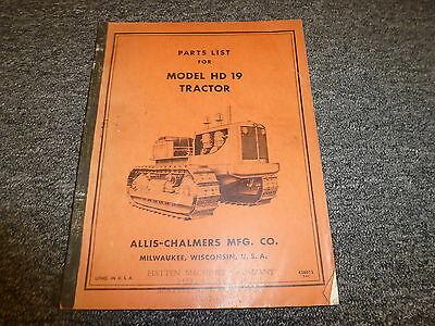 Allis Chalmers Hd19 Crawler Tractor Dozer Parts Catalog Manual Book