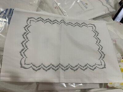 $115 Matouk Italy New Boudoir Sham 600TC Percale Atlas Embroidery