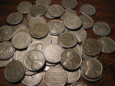 1943 S Lincoln Steel Wheat Cent Penny Roll  50 Coins